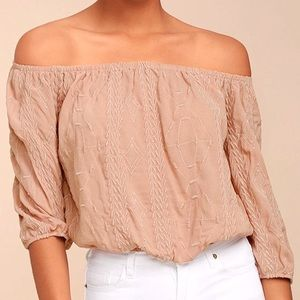 Lulu's blush embroidered off-the-shoulder crop top